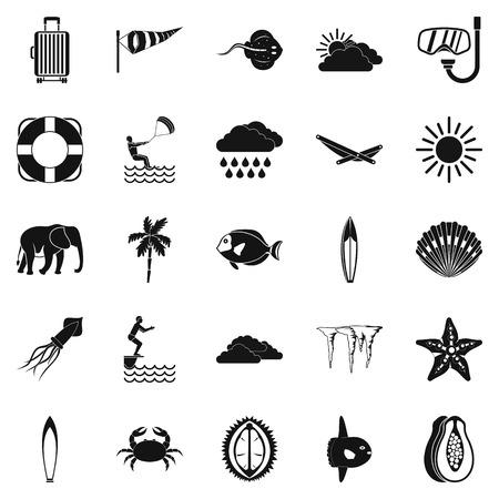 Tauchensikonen eingestellt. Einfacher Satz von 25 Tauch-Vektor-Icons für das Web isoliert auf weißem Hintergrund