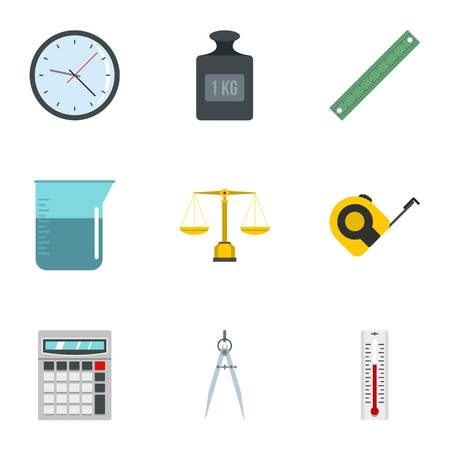 Measurement icon set, flat style Illustration