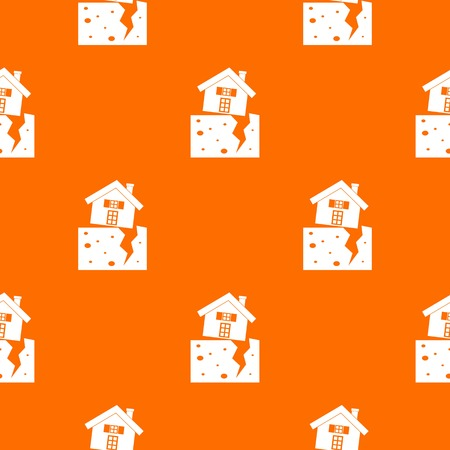 House after an earthquake pattern repeat seamless in orange color for any design. Vector geometric illustration Illustration
