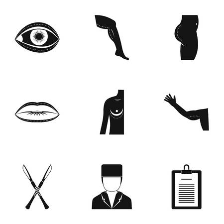 Cosmetic surgery icon set. Simple style set of 9 cosmetic surgery vector icons for web isolated on white background