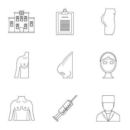 Surgery correction icon set. Outline style set of 9 surgery correction vector icons for web isolated on white background Illustration