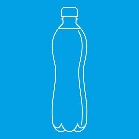 Water bottle icon blue outline style isolated vector illustration. Thin line sign