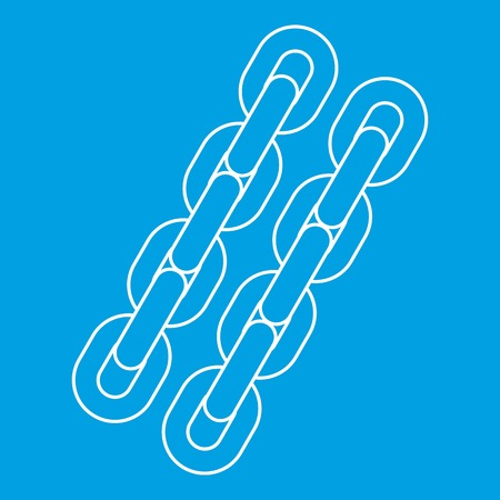 Two chains icon blue outline style isolated vector illustration. Thin line sign Illustration