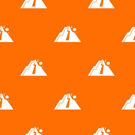 Rockfall pattern repeat seamless in orange color for any design. Vector geometric illustration