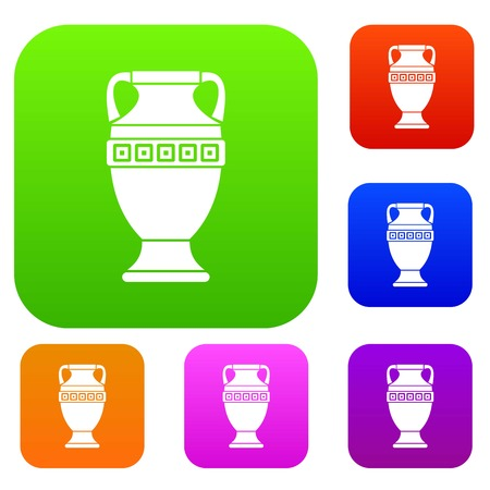 earthenware: Ancient jug set icon in different colors isolated vector illustration. Premium collection