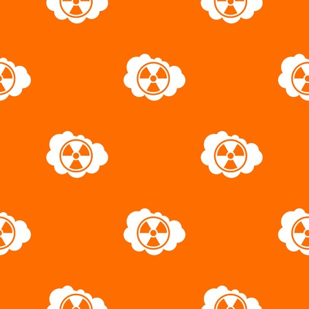 uranium: Cloud and radioactive sign pattern repeat seamless in orange color for any design. Vector geometric illustration Illustration