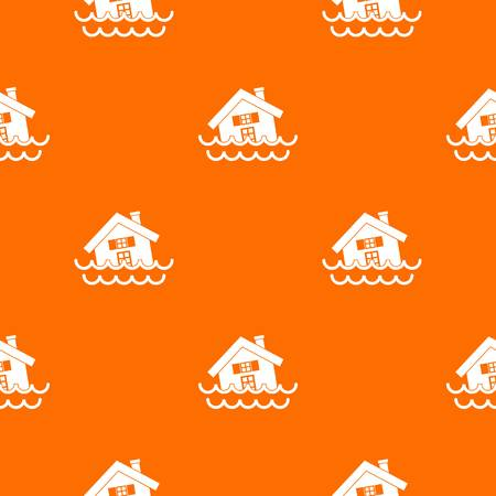 House sinking in a water pattern repeat seamless in orange color for any design. Vector geometric illustration