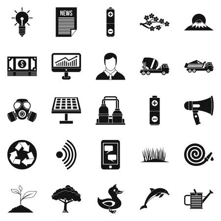 conservationist: Defender of natural icons set. Simple set of 25 defender of natural vector icons for web isolated on white background Illustration