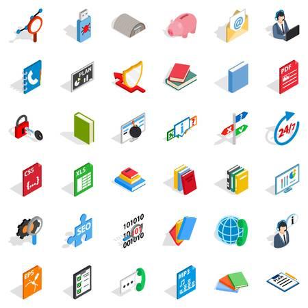 css: Internet learning icons set, isometric style Illustration