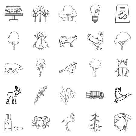 green environment: Forest icons set. Outline set of 25 forest vector icons for web isolated on white background Illustration