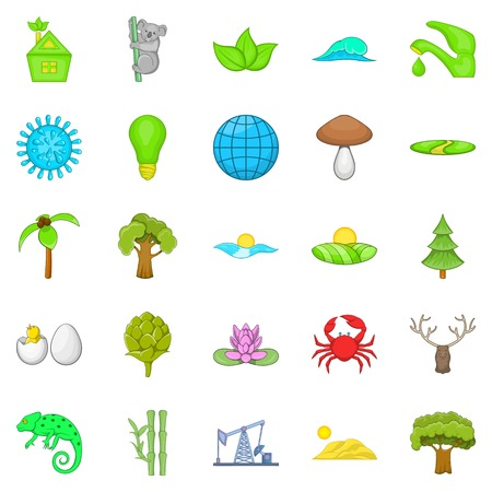 green environment: Natural strength icons set. Cartoon set of 25 natural strength vector icons for web isolated on white background Illustration