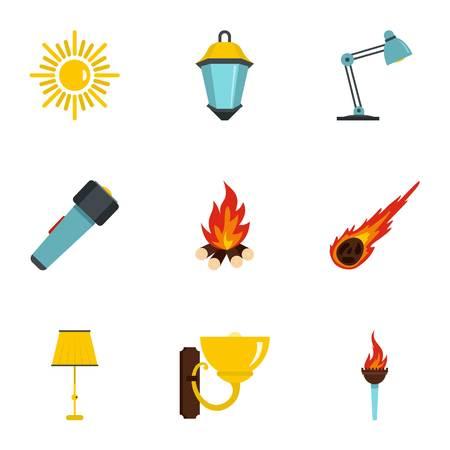Bronnen van licht icon set. Vlakke stijlreeks van 9 bronnen van lichte vectorpictogrammen voor Web dat op witte achtergrond wordt geïsoleerd