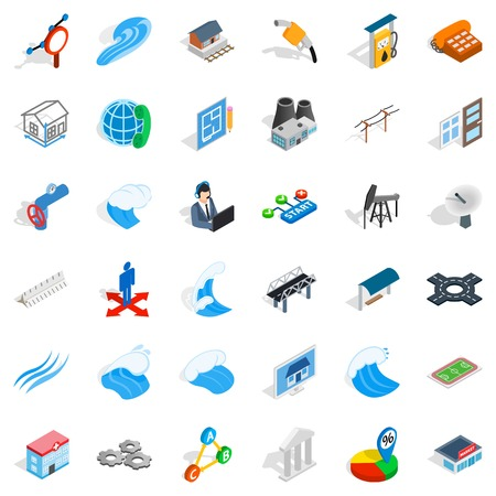 Electricity pipe icons set. Isometric style of 36 electricity pipe vector icons for web isolated on white background