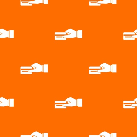 electronic commerce: Hand holding a credit card pattern repeat seamless in orange color for any design. Vector geometric illustration