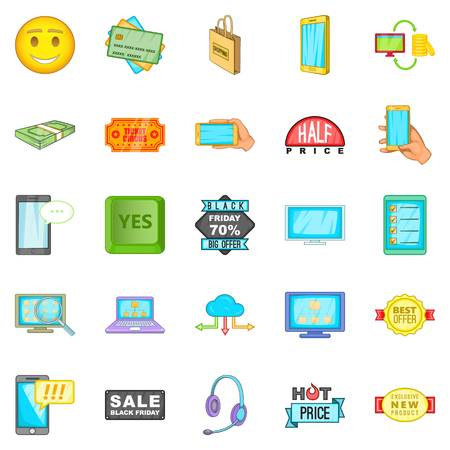 electronic commerce: Electronic commerce icons set. Cartoon set of 25 electronic commerce vector icons for web isolated on white background