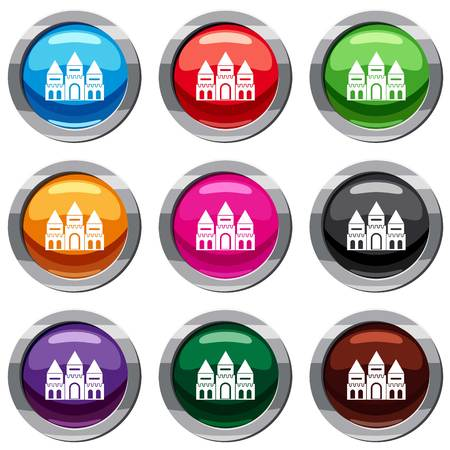 Children house castle set icon isolated on white. 9 icon collection vector illustration