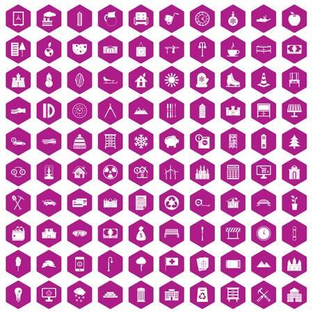 100 villa icons set in violet hexagon isolated vector illustration Ilustração