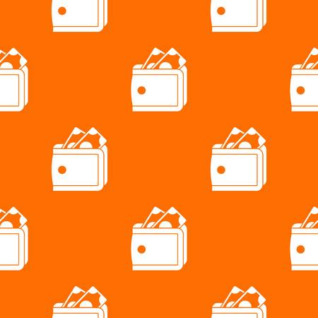 Wallet with cash pattern repeat seamless in orange color for any design. Vector geometric illustration Illustration