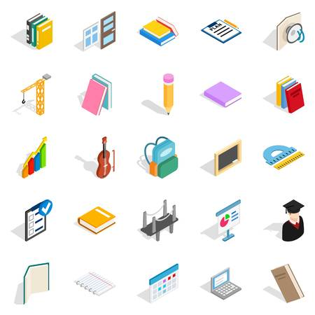 Cognition icons set. Isometric set of 25 cognition vector icons for web isolated on white background