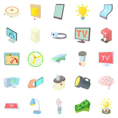 street lamp: Backlight icons set, cartoon style Illustration