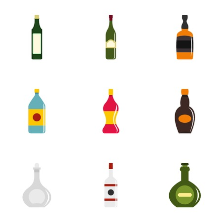 Glass bottles icon set. Flat style set of 9 glass bottles vector icons for web isolated on white background Illustration
