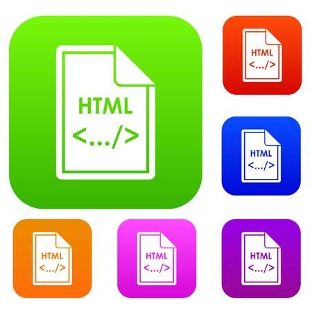 html: File HTML set icon in different colors isolated vector illustration. Premium collection Illustration