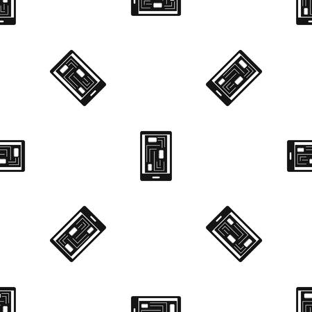 touch screen phone: Phone innards pattern repeat seamless in black color for any design. Vector geometric illustration Illustration