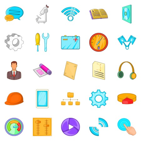 Engineer icons set, cartoon style Vectores