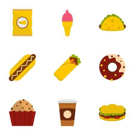 Unhealthy food icon set, flat style Illustration
