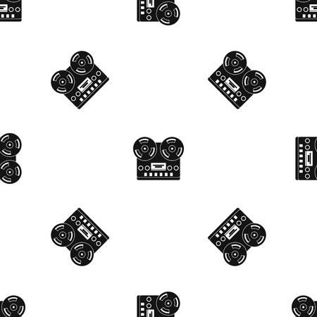 Retro tape recorder pattern repeat seamless in black color for any design. Vector geometric illustration Ilustração