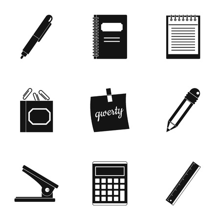 Stationery icon set. Simple style set of 9 stationery vector icons for web isolated on white background