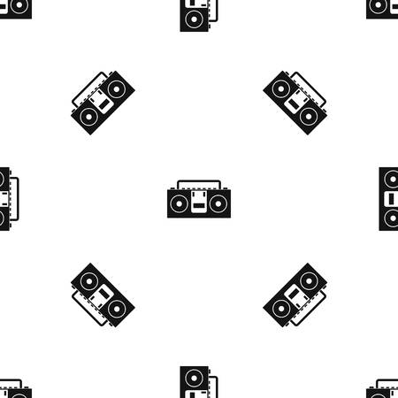 old fashioned: Vintage tape recorder for audio cassettes pattern repeat seamless in black color for any design. Vector geometric illustration Illustration
