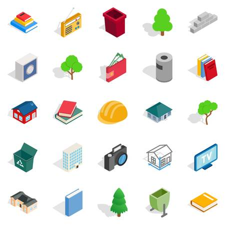 Subdual icons set. Isometric set of 25 subdual vector icons for web isolated on white background