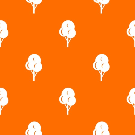 Autumn tree pattern repeat seamless in orange color for any design. Vector geometric illustration