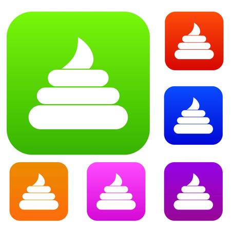 Turd set icon in different colors isolated vector illustration. Premium collection