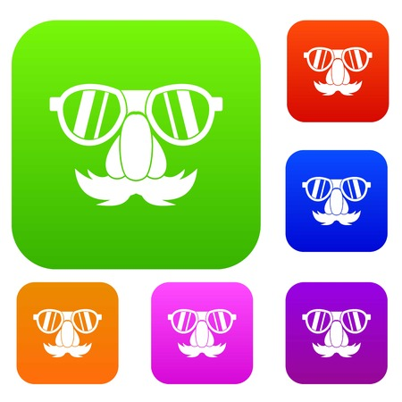 Clown face set icon in different colors isolated vector illustration. Premium collection