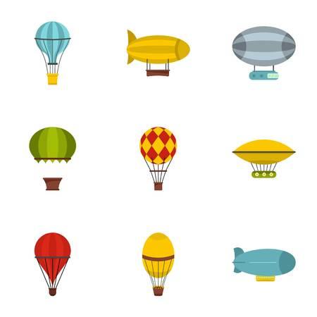 airship: Airship balloons icon set. Flat style set of 9 airship balloons vector icons for web isolated on white background Illustration