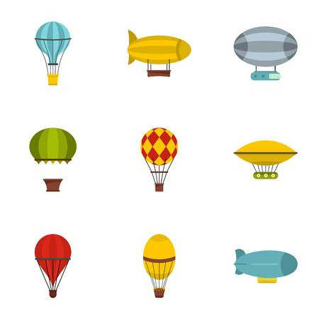 Airship balloons icon set. Flat style set of 9 airship balloons vector icons for web isolated on white background Illustration