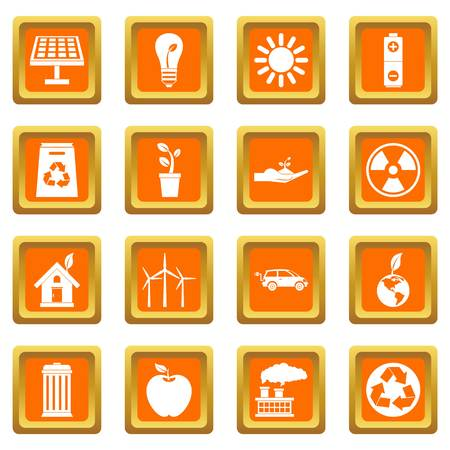 green environment: Ecology icons set in orange color isolated vector illustration for web and any design Illustration