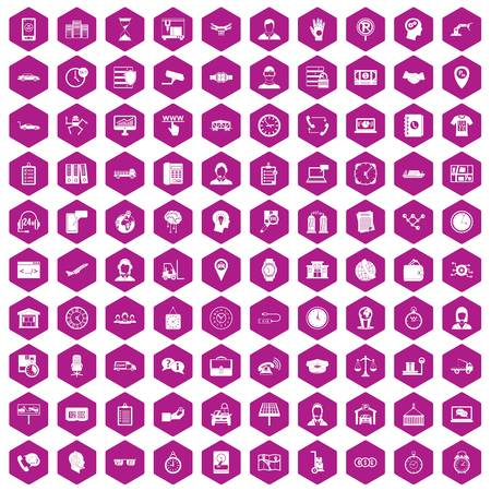 100 working hours icons hexagon violet