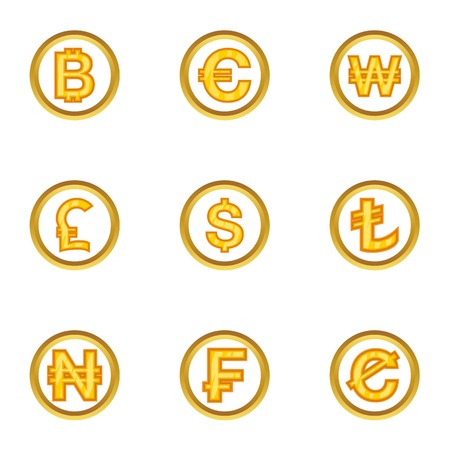 Money icon set, cartoon style