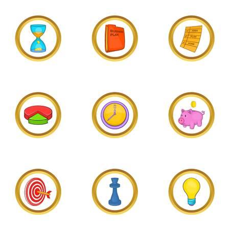 money packs: Business strategy icon set, cartoon style