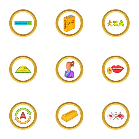 polyglot: Language study icons set, cartoon style