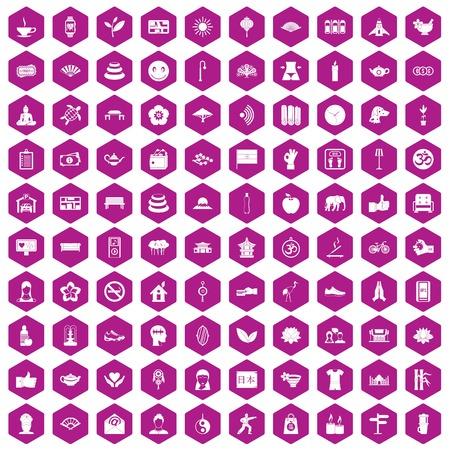 meditation man: 100 yoga studio icons hexagon violet