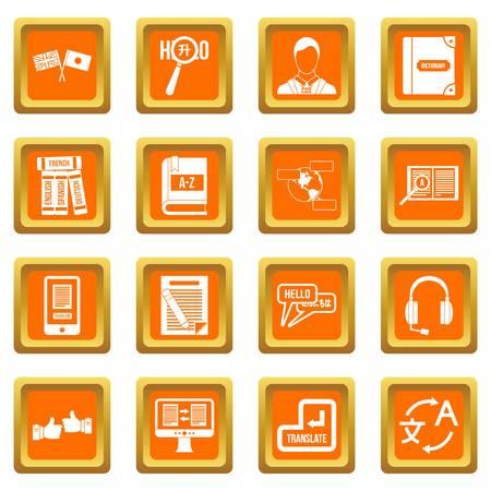 mobile app: Learning foreign languages icons set orange Illustration