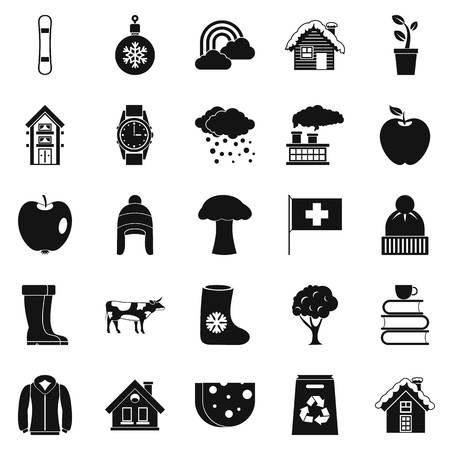comfortable: Country house icons set, simple style