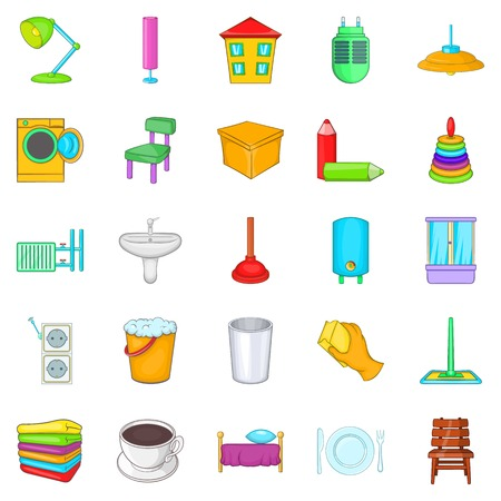 couch: Cozy house icons set, cartoon style