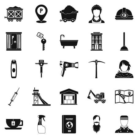 Painter icons set, simple style