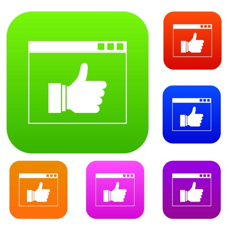 web browser: Hand with thumb up in browser set icon in different colors isolated vector illustration. Premium collection