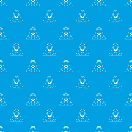 middle: Arabic man in traditional muslim hat pattern repeat seamless in blue color for any design. Vector geometric illustration